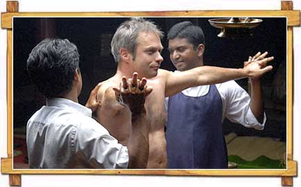 Tourist getting Ayurvedic Treatment ,  Kerala